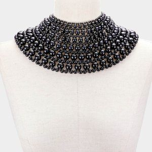 Black Pearl Armor Bib Choker Necklace B